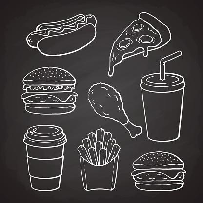 Set of doodles of fast food