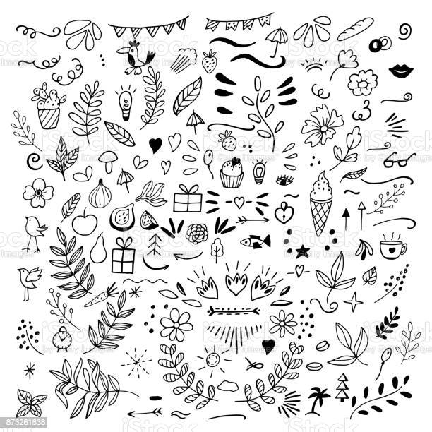 Set of doodles of florals fruits arrows flowers birds thing vector id873261838?b=1&k=6&m=873261838&s=612x612&h=7u4kggqor4cmsxtp3xz0cra6m0y0bpeknizcyy4nx1s=