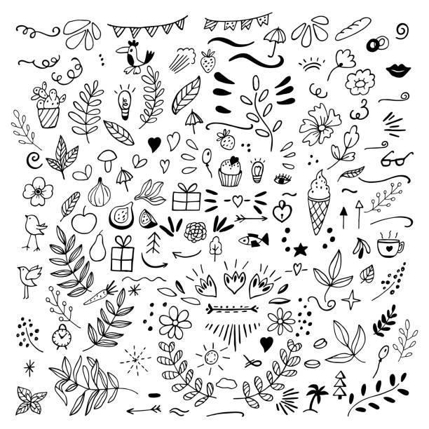 zestaw bazgrołów kwiatów, owoców, strzałek, kwiatów, ptaków, rzeczy - bazgroły rysunek stock illustrations