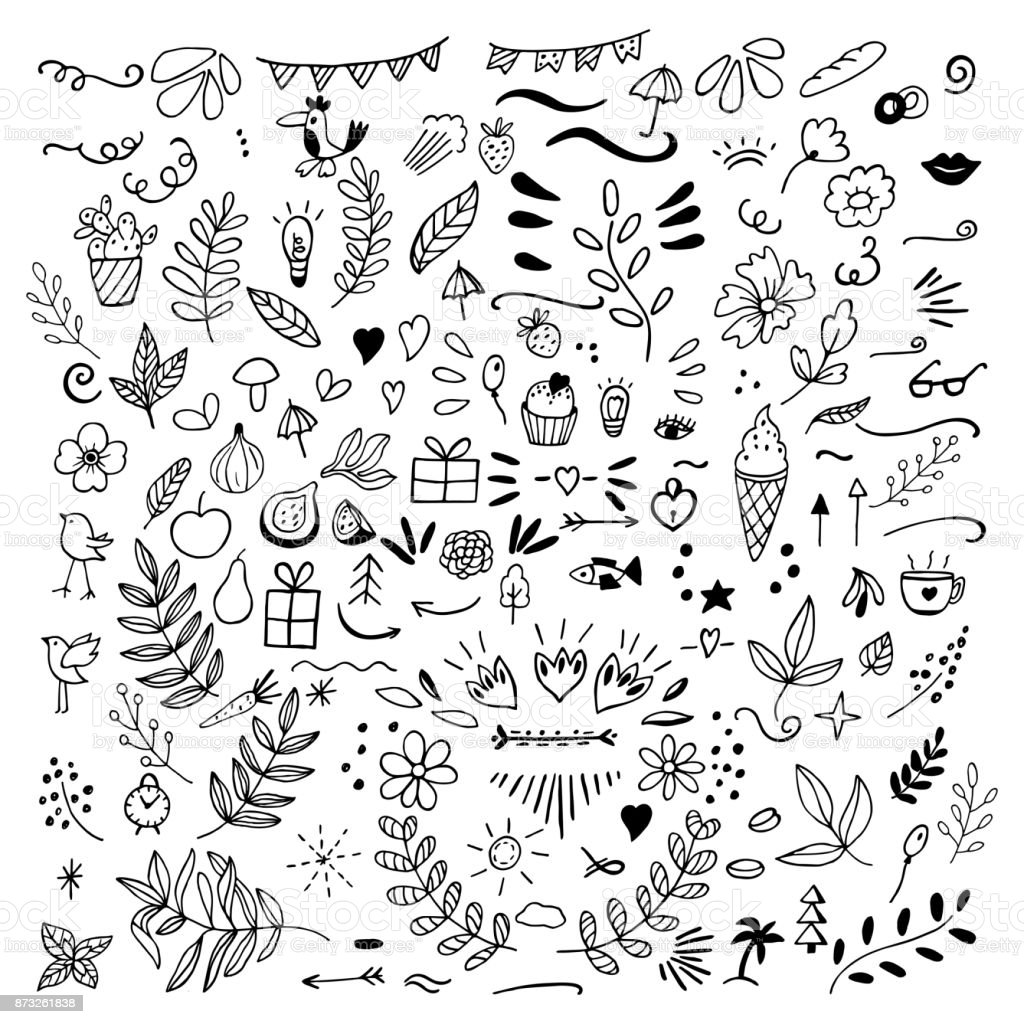 Set of doodles of florals, fruits, arrows, flowers, birds, thing vector art illustration