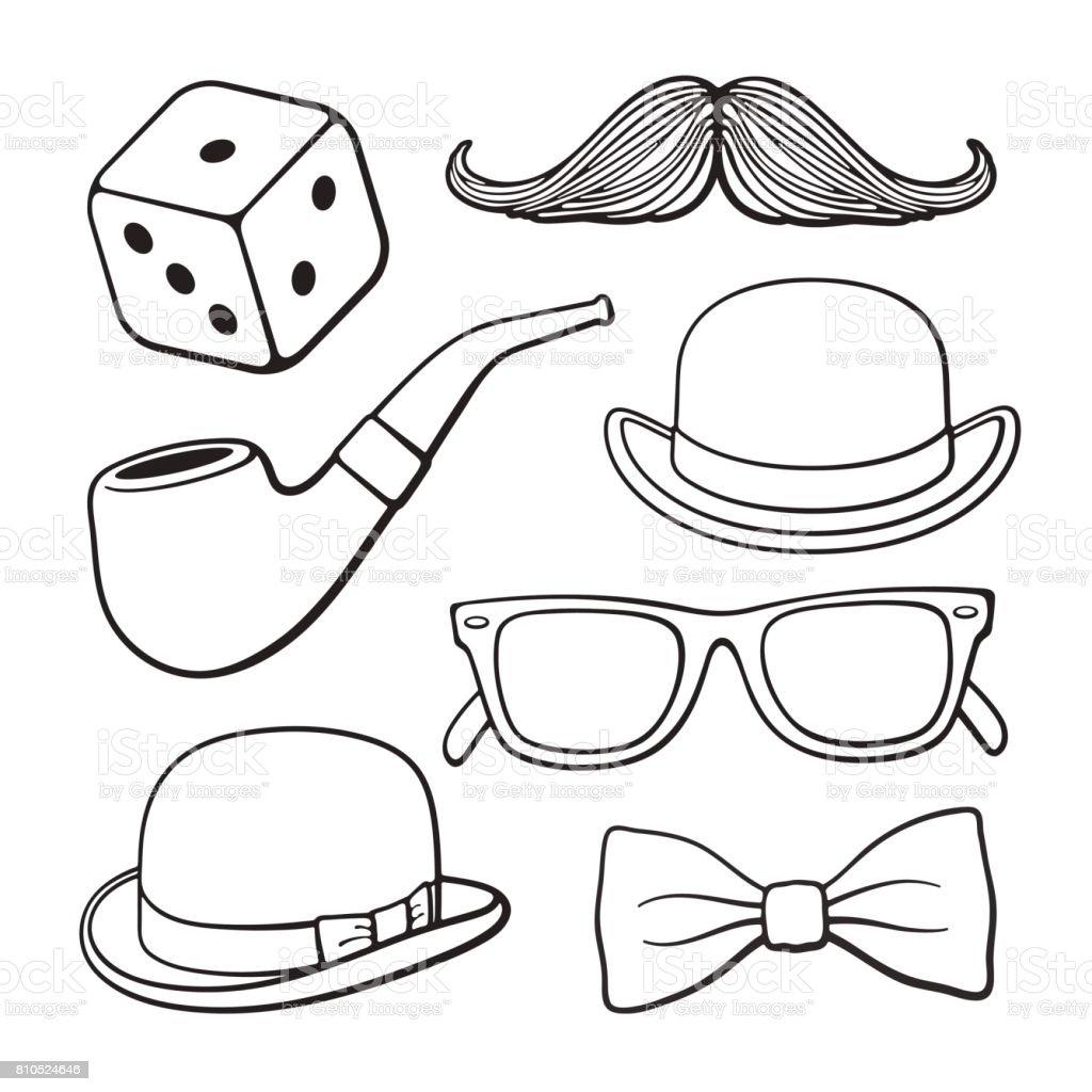 Set of doodles of gentlemen's vintage accessories vector art illustration