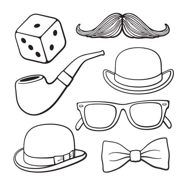 set of doodles of gentlemen's vintage accessories - mens fashion stock illustrations, clip art, cartoons, & icons