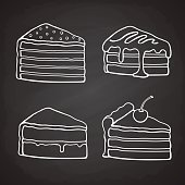 Set of doodles of piece of cakes