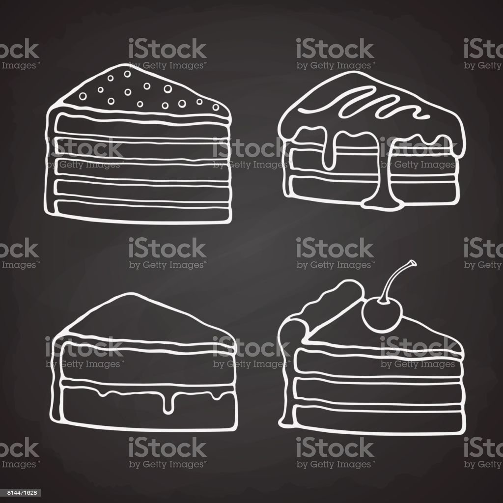 Set of doodles of piece of cakes vector art illustration