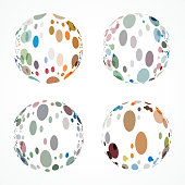 Set of Dots Sphere Vector Pattern