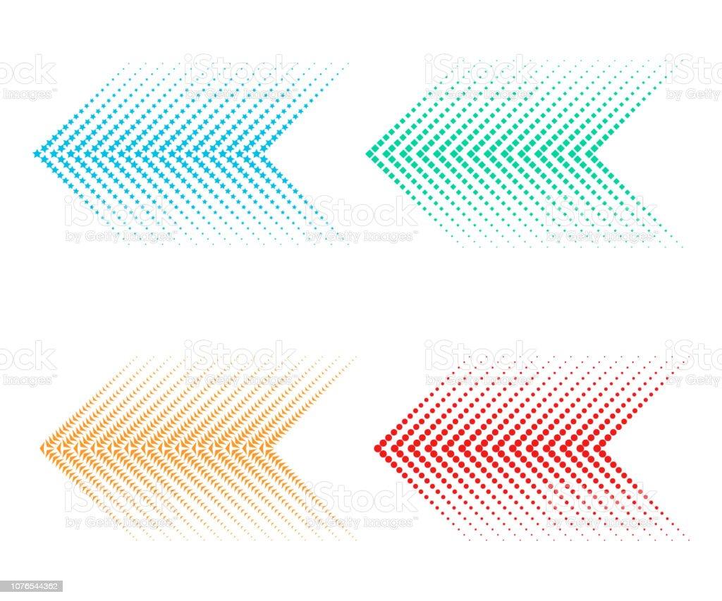 Ensemble de flèches en pointillé ensemble de flèches en pointillé vecteurs libres de droits et plus d'images vectorielles de abstrait libre de droits