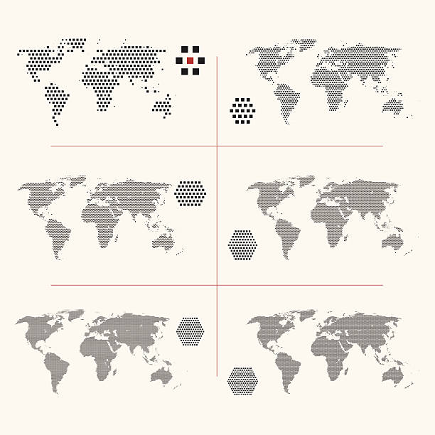 Royalty free world map pixel clip art vector images illustrations set of dotted world maps in different resolution vector art illustration gumiabroncs Choice Image