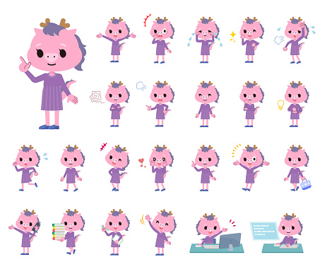 A set of Dragon girl with who express various emotions