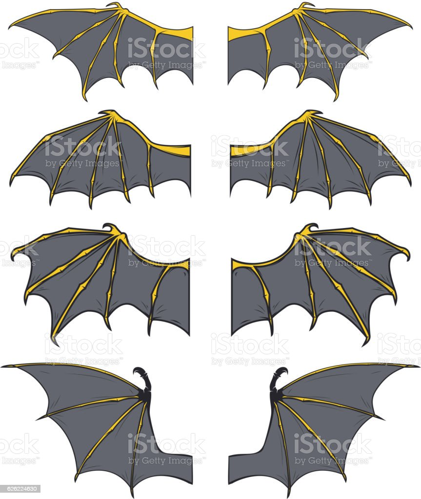 Set of dragon or bat wings vector art illustration