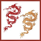 Set of dragons - symbol of oriental culture
