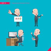 Set of drawing flat character style, business concept boss activities