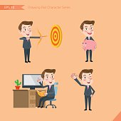 Set of drawing flat character style, business office worker activities