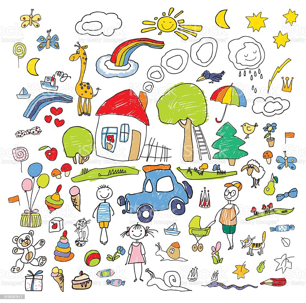 Set of drawings in child like style vector art illustration