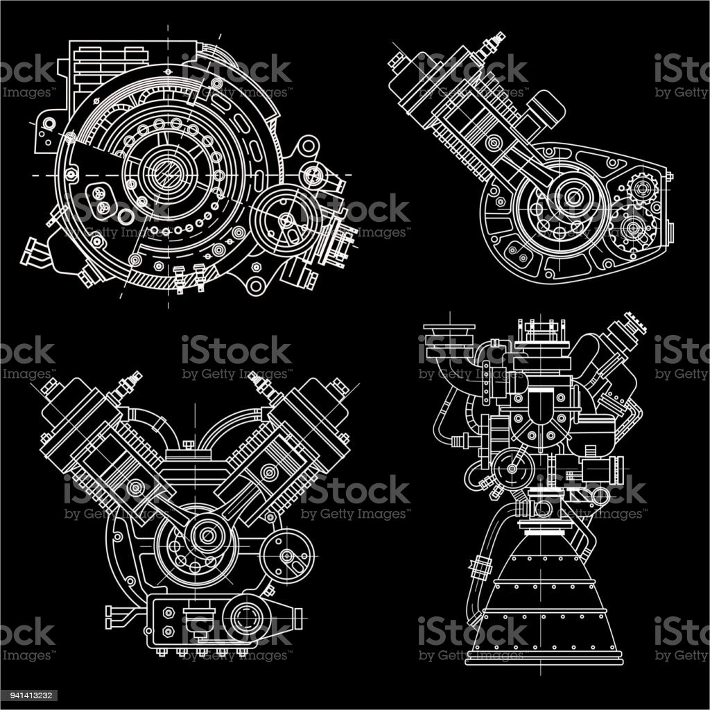 Set of drawings of engines motor vehicle internal combustion engine set of drawings of engines motor vehicle internal combustion engine motorcycle electric motor malvernweather Images