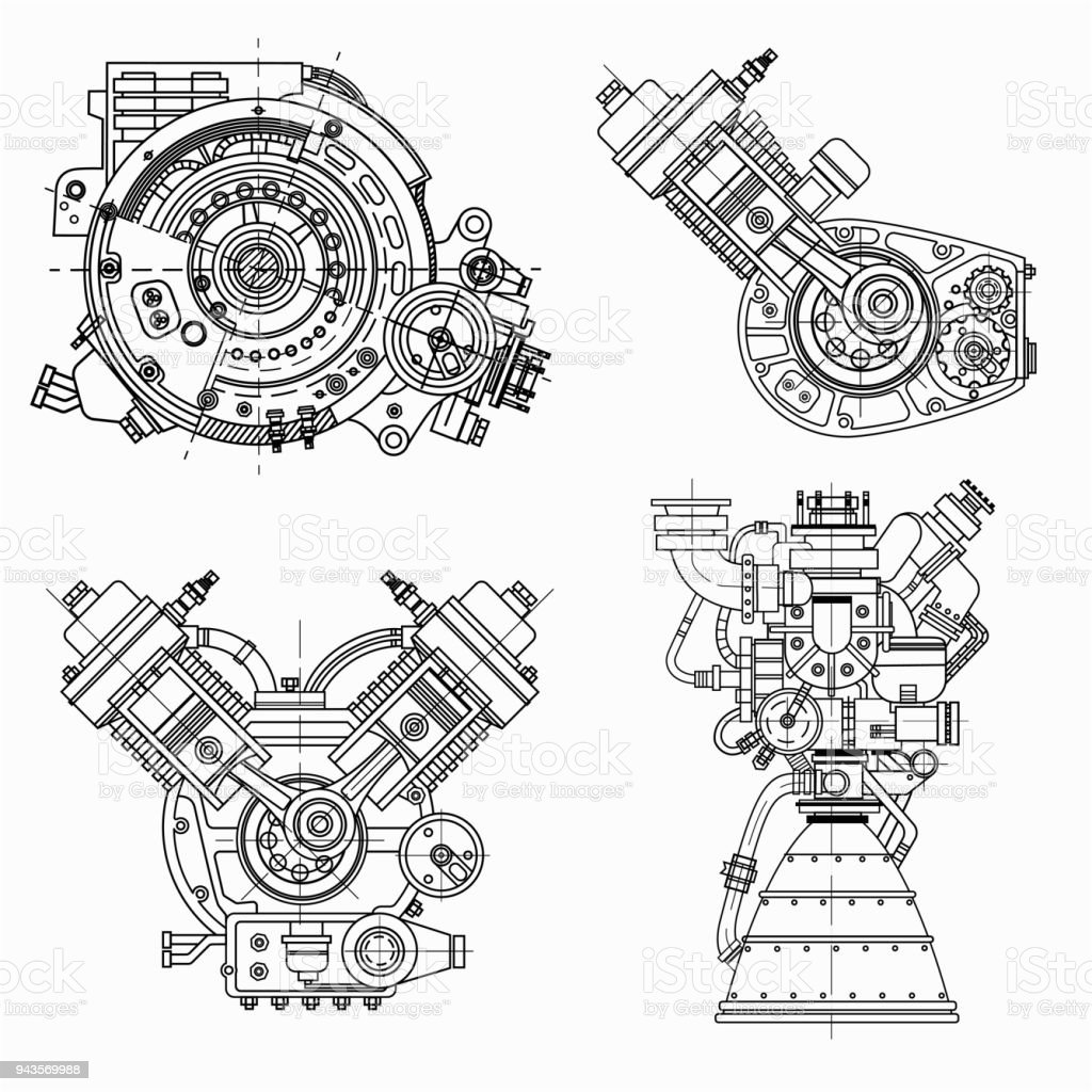 Set of drawings of engines - motor vehicle internal combustion engine, motorcycle, electric motor and a rocket. It can be used to illustrate ideas of science, engineering design and high-tech vector art illustration