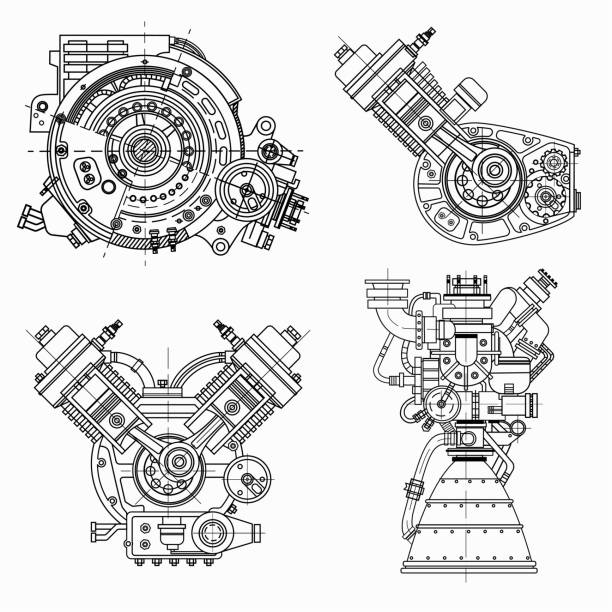 Set of drawings of engines - motor vehicle internal combustion engine, motorcycle, electric motor and a rocket. It can be used to illustrate ideas of science, engineering design and high-tech A set of drawings of engines - motor vehicle internal combustion engine, motorcycle, electric motor and a rocket. It can be used to illustrate ideas of science, engineering design and high-tech vehicle part stock illustrations