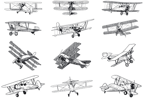 Set of drawings of old planes on white background. Traditional style vector illustrations of vintage aircraft