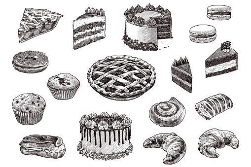 Set of drawings of pastry products