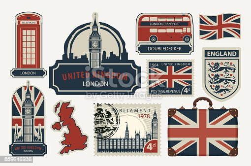 Vector set of British symbols, stamps, architectural landmarks and flag of the United Kingdom in retro style