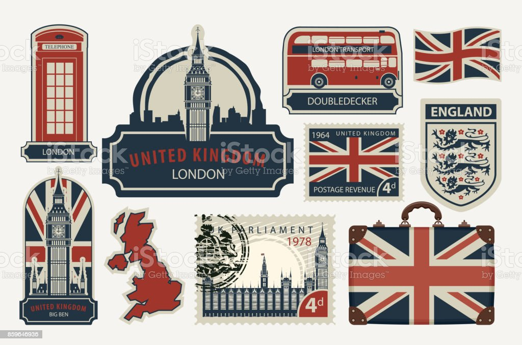 set of drawings on the theme of Great Britain vector art illustration