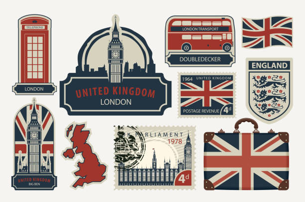 set of drawings on the theme of Great Britain Vector set of British symbols, stamps, architectural landmarks and flag of the United Kingdom in retro style london stock illustrations