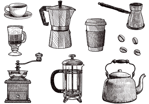 Set of drawings related to coffee