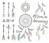 Set of hand drawn native american feathers, double dream catcher, beads, geometric design elements and arrows. Vector illustration, eps8.