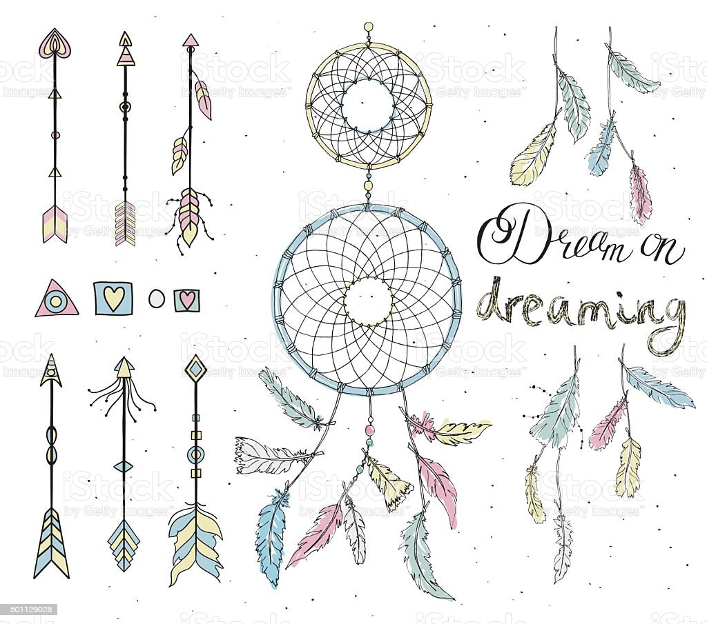 Set of drawn feathers, dream catcher, beads, geometric elements, vector art illustration