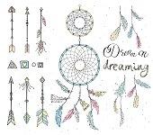 Set of drawn feathers, dream catcher, beads, geometric elements,