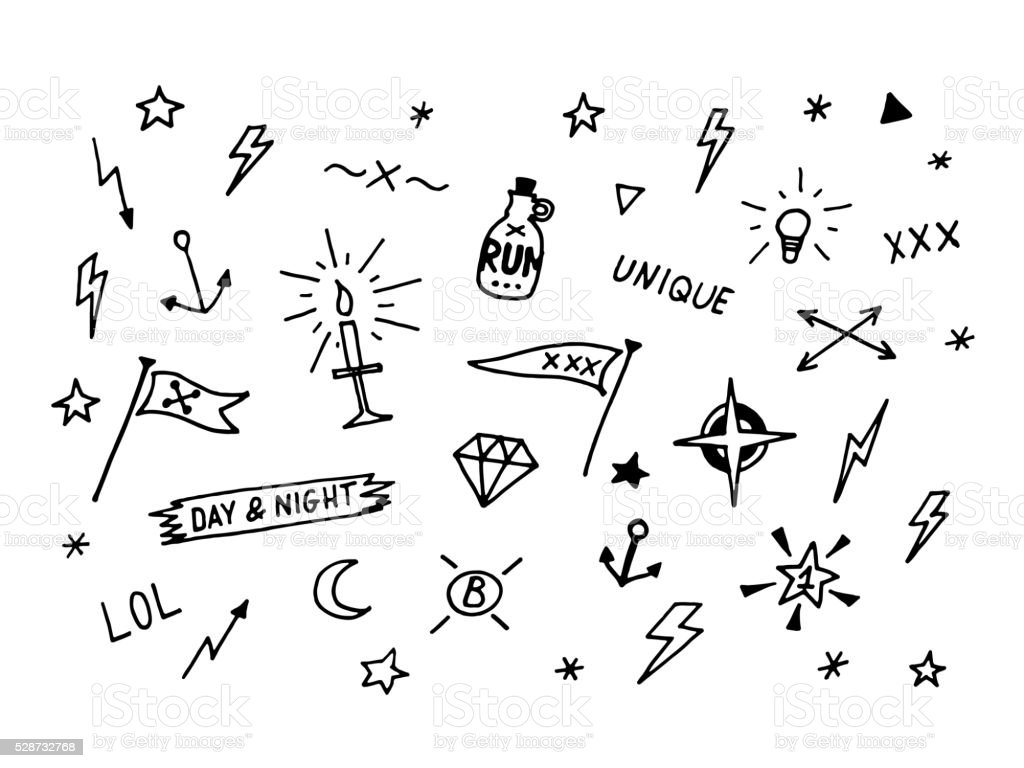 Set of drawn old school tattoo elements. Black and white vector art illustration