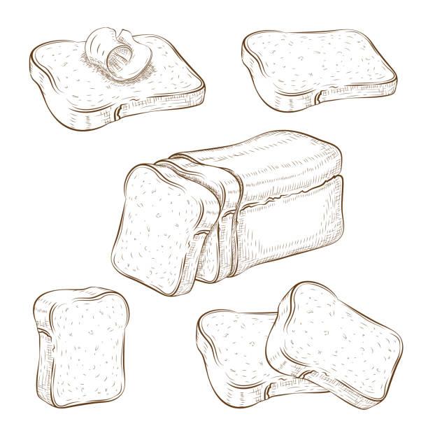 白に分離された描かれたスライスパンとトーストのイラストのセット。小麦ライ麦または様々なパンのスライスと全粒正方形のローフ。サンドイッチアイコンコレクション。ベクタービンテ� - 食パン点のイラスト素材/クリップアート素材/マンガ素材/アイコン素材