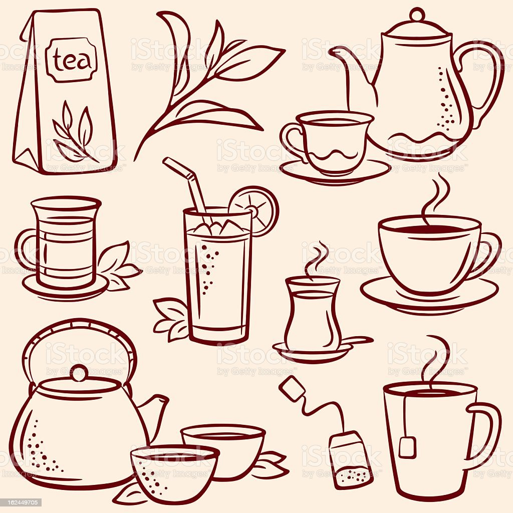 Set of drawn tea-related illustrations over beige background royalty-free stock vector art