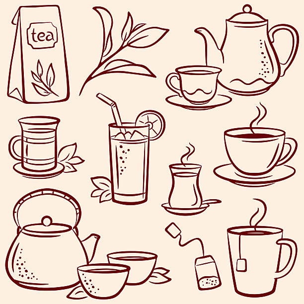 Set of drawn tea-related illustrations over beige background Tea, pencil drawing illustration teapot stock illustrations