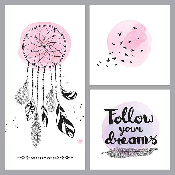 Set of dream cards - ilustración de arte vectorial
