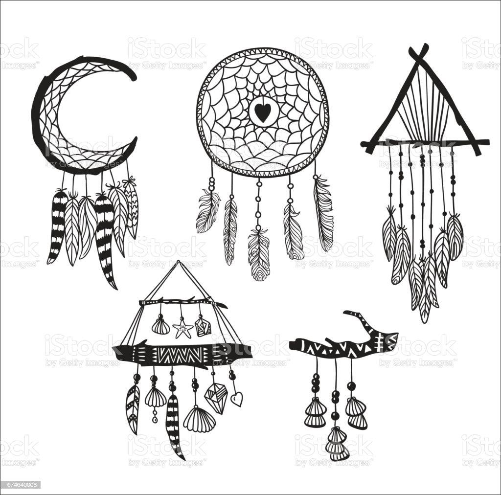 Dreamcatchers Kumesi Boho Tarzi Tasarim Ogeleri Lineart Yerel Stil