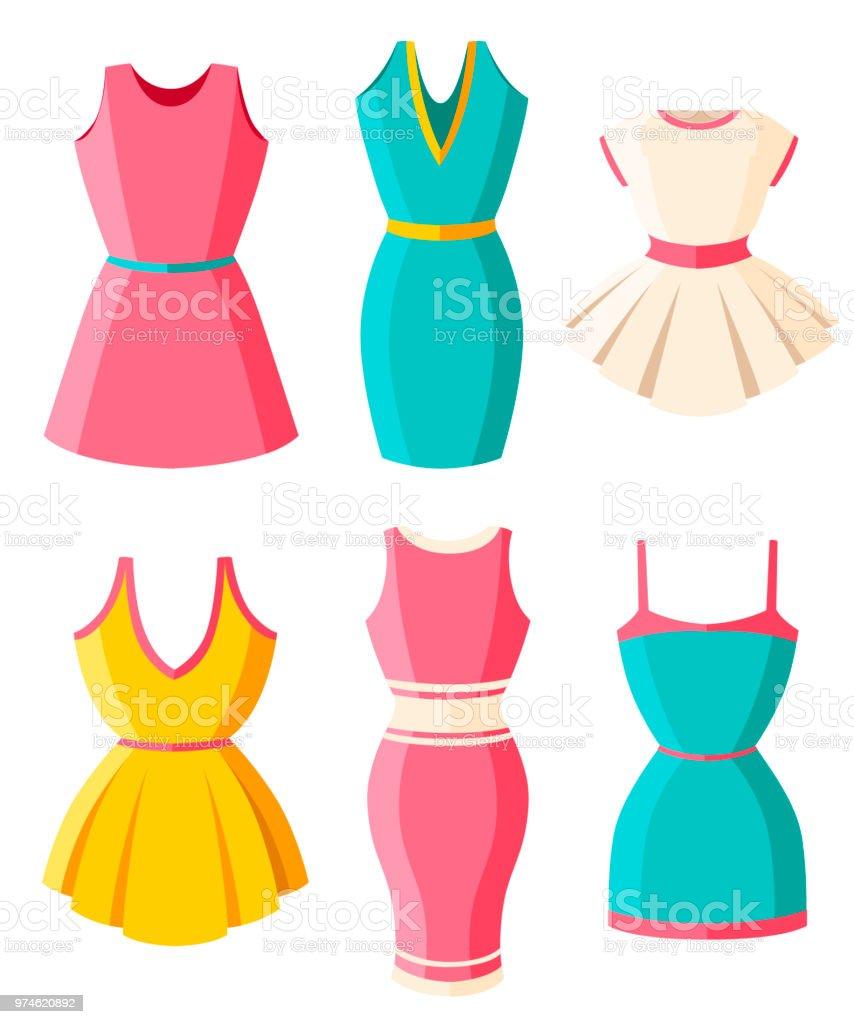 e71d8942281 Juego de vestidos. Ropa para dama. Vestidos de mujer verano color  brillante. Diseño
