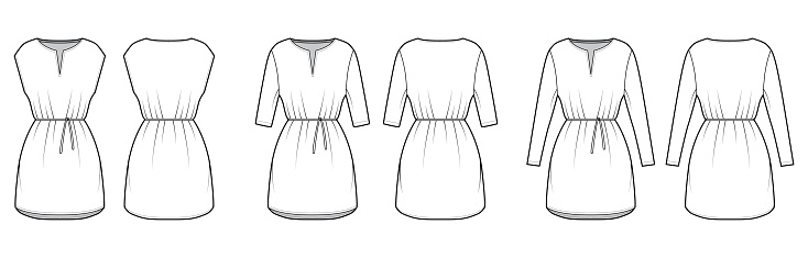 Set of dresses tunic technical fashion illustration with tie, long elbow sleeves, oversized body, mini length skirt, slashed neck. Flat apparel front, back, white color style. Women, men CAD mockup