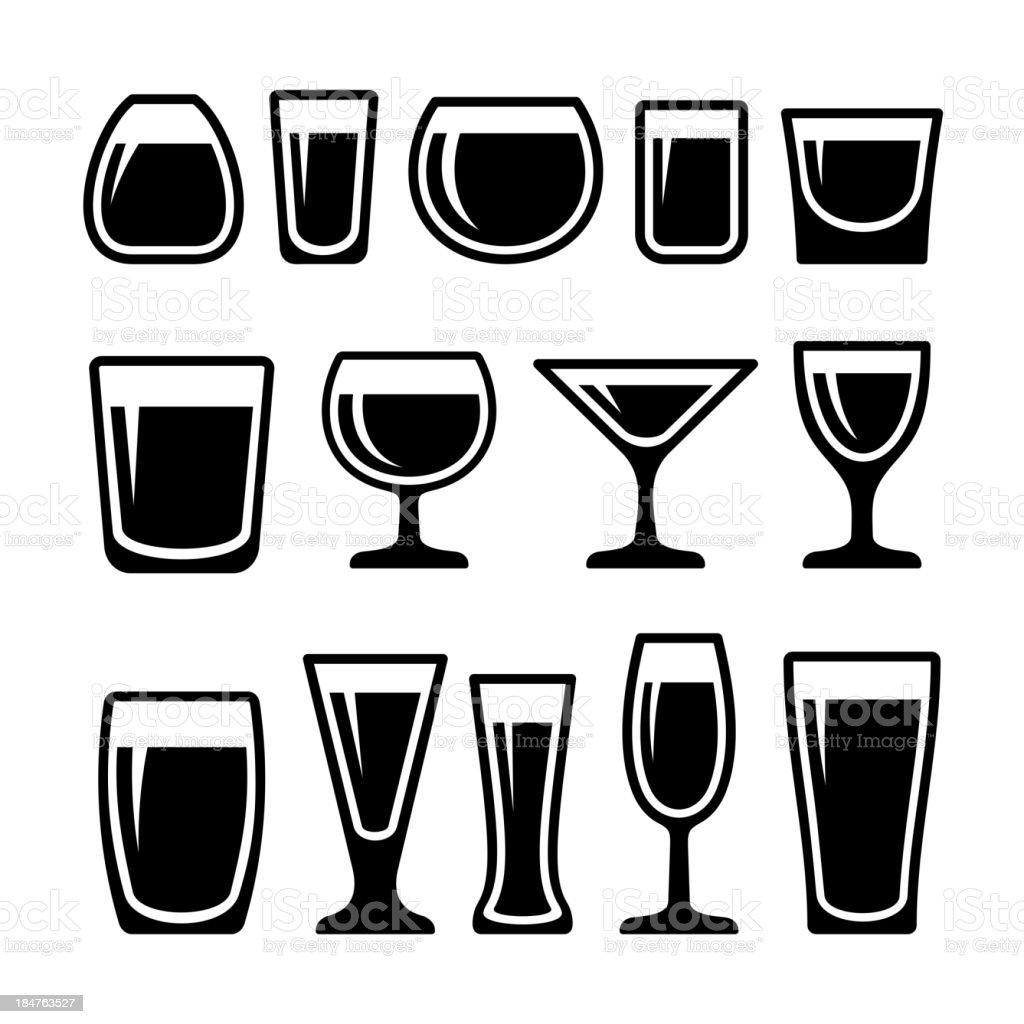 Set of drink glasses icons vector art illustration