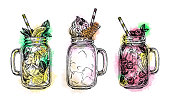 lemonades and milkshake in mason jar. Retro style ink sketch with watercolor spots isolated on white background. Hand drawn vector illustration.
