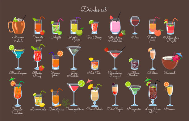 set of drinks on a brown background. vector graphics. - koktajl alkoholowy stock illustrations