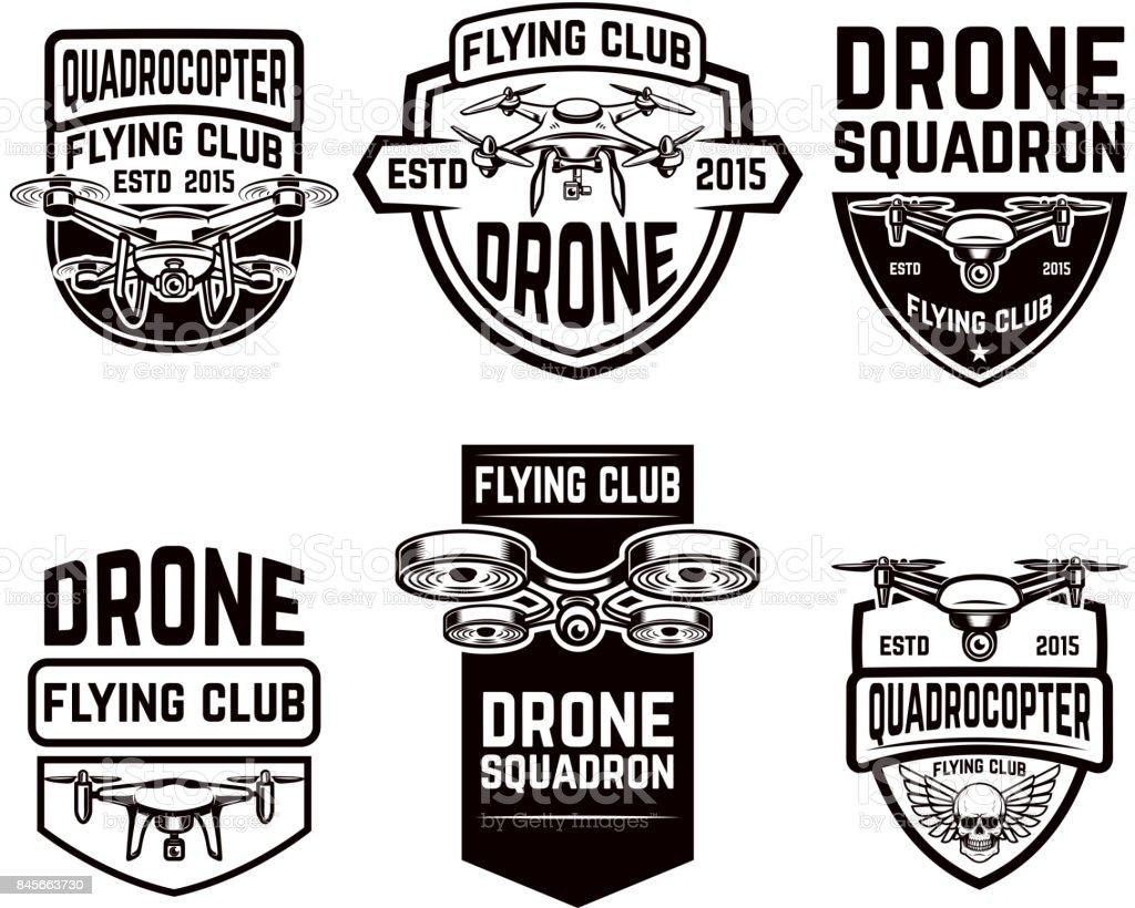 Festlegen Der Drohne Fliegen Club Embleme Vorlagen Stock Vektor Art ...