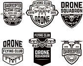 Set of drone flying club emblems templates.