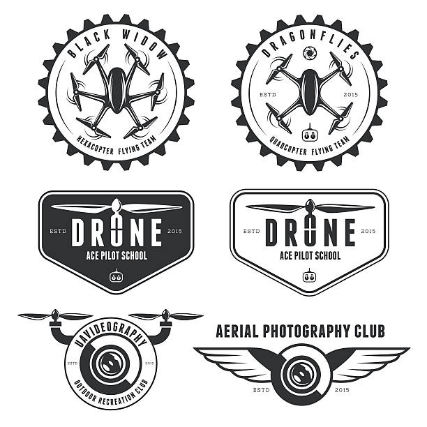 Set Of Drone Labels Badges Emblems Vector Art Illustration