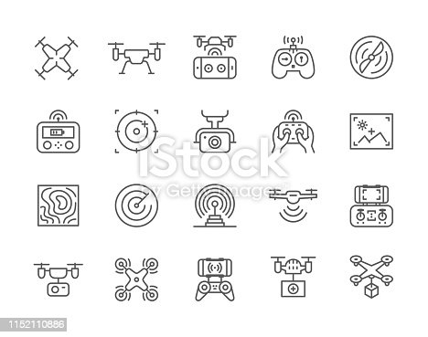 Set of Drone Line Icons. Fast Delivery, Remote Controller, Propeller, City Maps Navigation, Action Camera, Radar Screen, Radio Antenna and more.