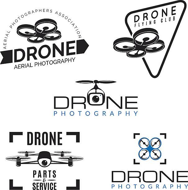 ilustrações de stock, clip art, desenhos animados e ícones de conjunto de monótona logótipos, emblemas e elementos de design. - drone