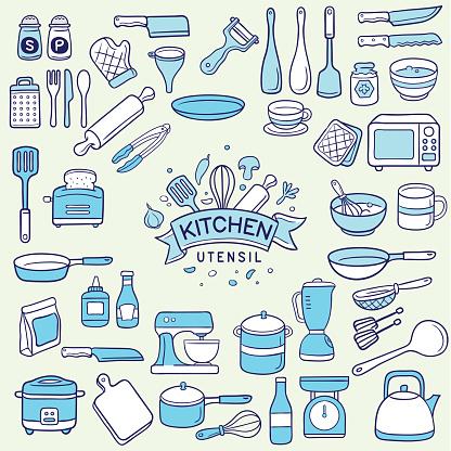 set of duotone colored kitchen utensil