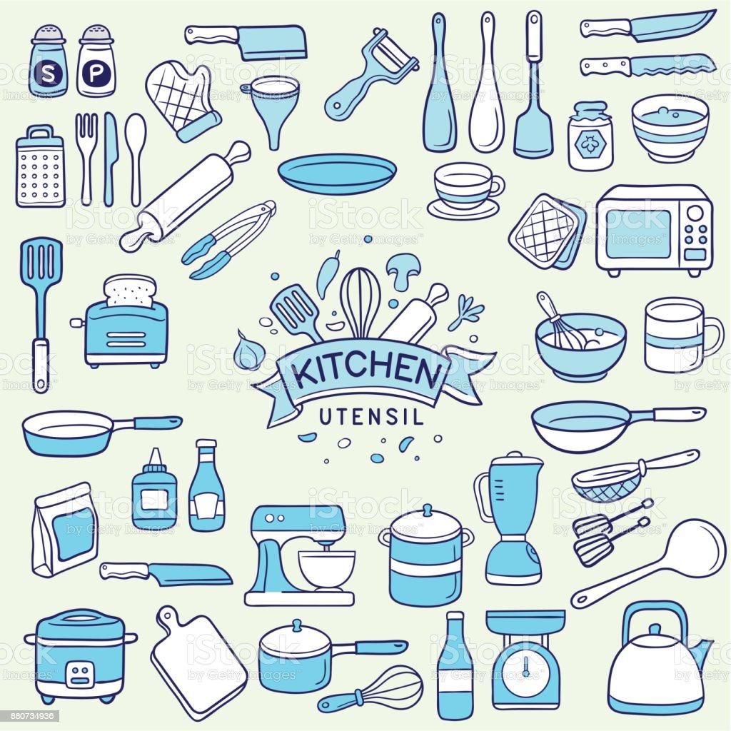 set of duotone colored kitchen utensil vector art illustration