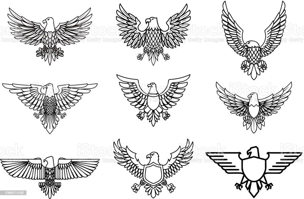 Set of eagle icons isolated on white. Design element for label, emblem, sign.