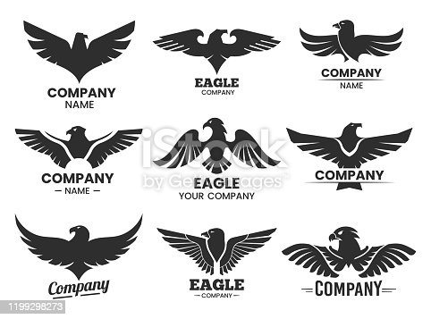 Eagle black silhouettes for branding. Set of isolated badges with hawk head and company name. Vector heraldic signs for label. Flying animal icon. Falcon insignia for aviation club.Flight and heraldry