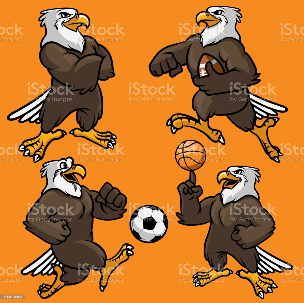 set of eagle sport mascot vector art illustration
